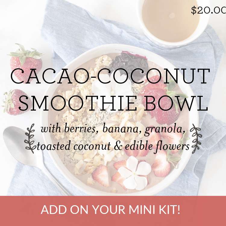 Cacao-Coconut Smoothie Bowl with berries, banana, granola, toasted coconut & edible flowers