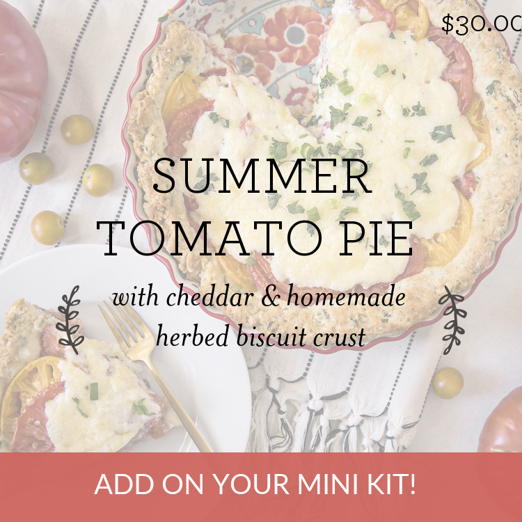 Summer Tomato Pie with cheddar & homemade herbed biscuit crust