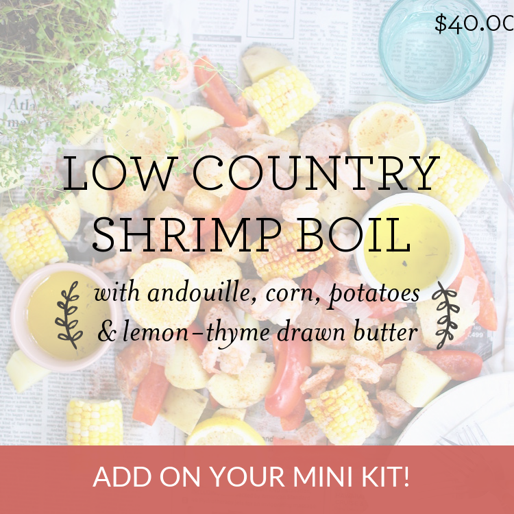Low Country Shrimp Boil with andouille, corn, potatoes & lemon-thyme drawn butter