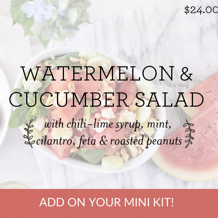 Watermelon & Cucumber Salad with chili-lime syrup, mint, cilantro, feta & roasted peanuts