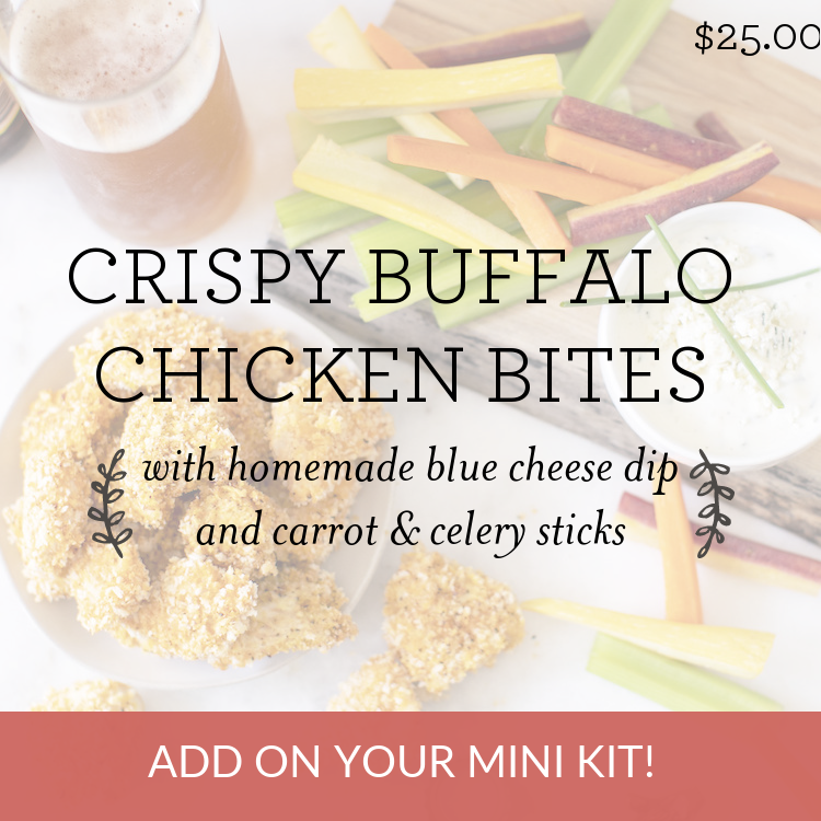 Crispy Buffalo Chicken Bites with homemade blue cheese dip & carrot & celery sticks
