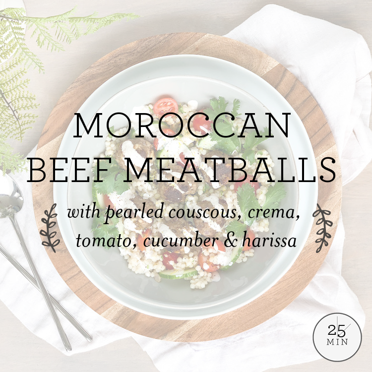 Moroccan Beef Meatballs with pearled couscous, crema, tomato, cucumber & harissa
