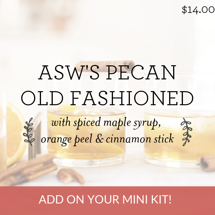 ASW's Pecan Old Fashioned with spiced maple syrup, orange peel & cinnamon stick