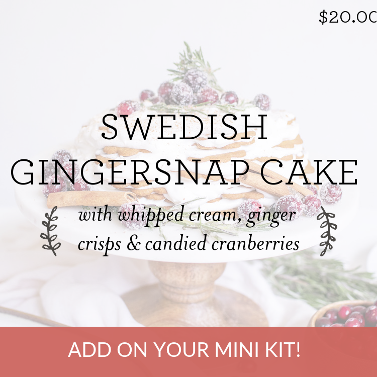 Swedish Gingersnap Cake with whipped cream, ginger crisps & candied cranberries