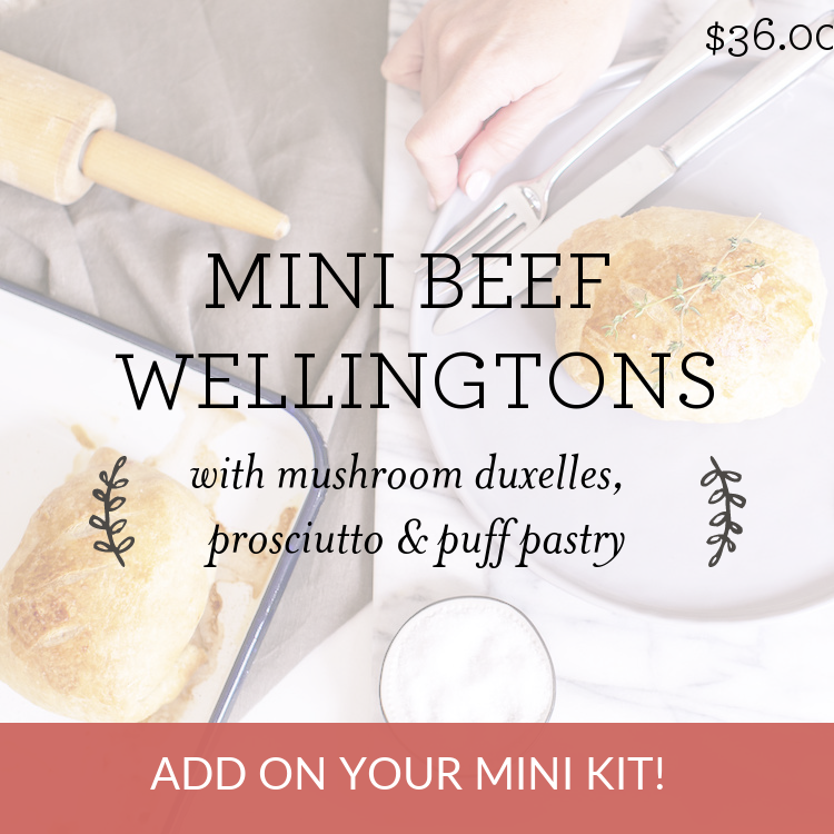 Mini Beef Wellingtons with mushroom duxelles, prosciutto & puff pastry