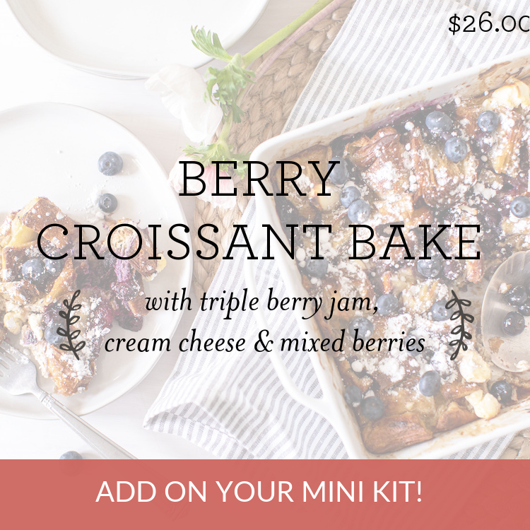 Blueberry Croissant Bake with blueberry basil jam, cream cheese & fresh berries