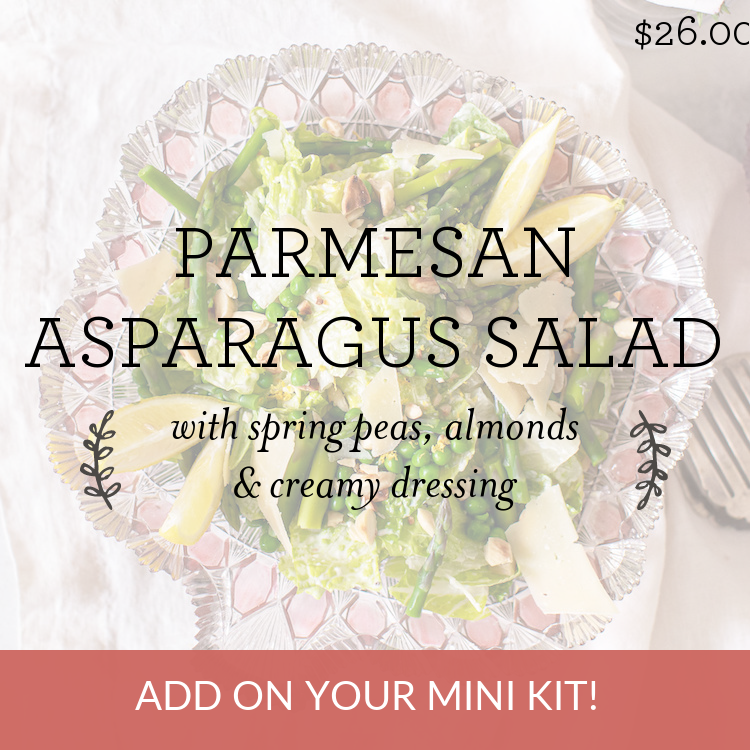 Parmesan Asparagus Salad with spring peas, almonds & creamy dressing