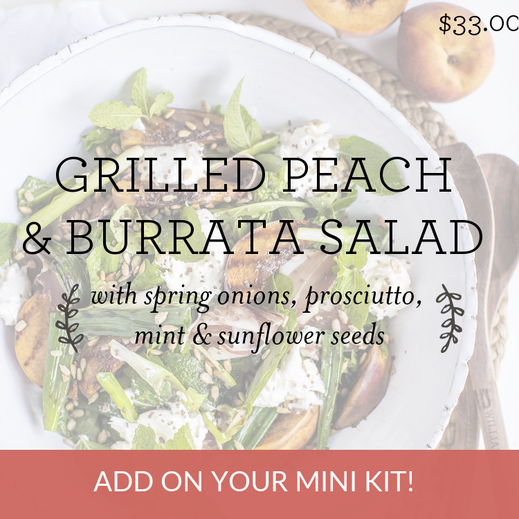 Grilled Peach & Burrata Salad with spring onions, prosciutto, mint & sunflower seeds