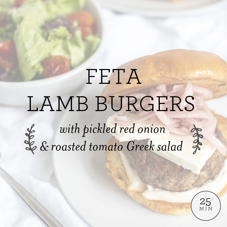 Feta Lamb Burgers with pickled red onion & roasted tomato Greek salad
