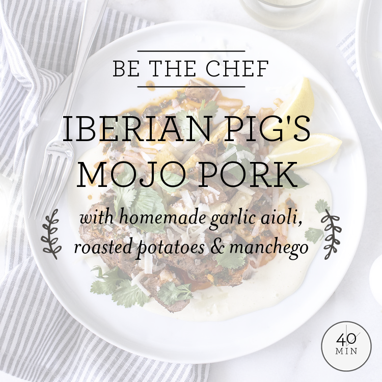 Iberian Pig's Mojo Pork with homemade garlic aioli, roasted potatoes & manchego