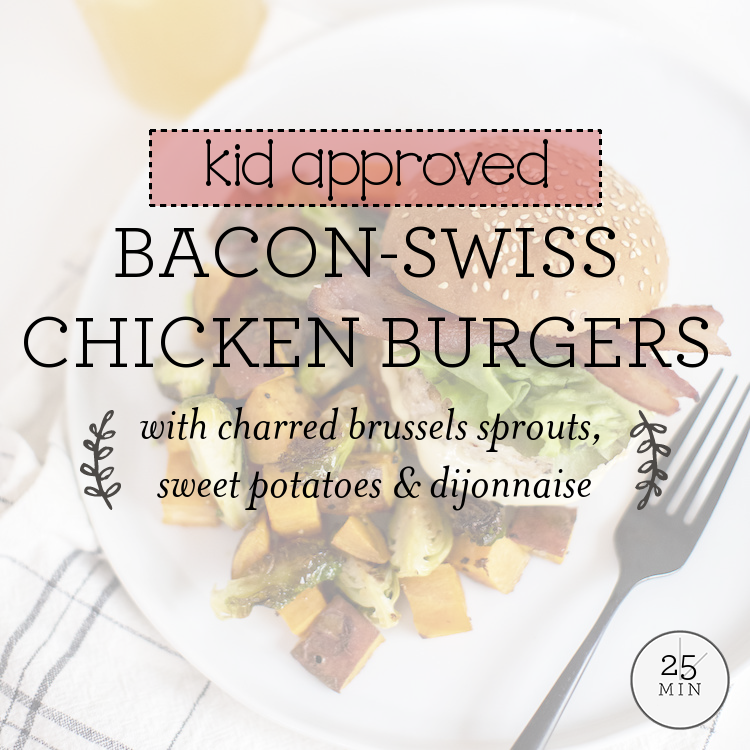 Bacon-Swiss Chicken Burgers with charred brussels sprouts, sweet potatoes & dijonnaise