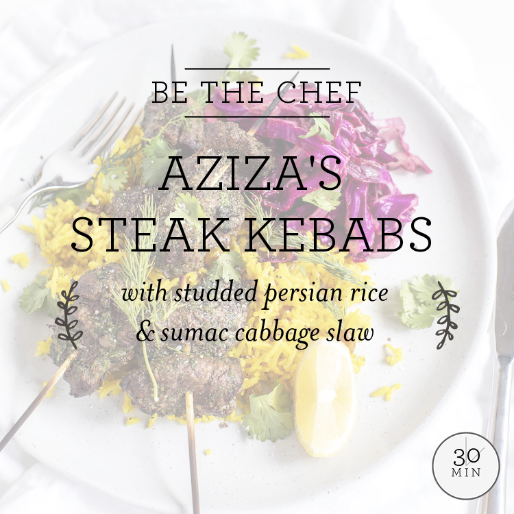 Aziza's Steak Kebabs with studded persian rice & sumac cabbage slaw
