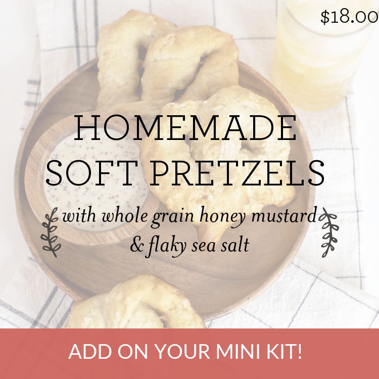 Homemade Soft Pretzels with whole grain honey mustard & flaky sea salt