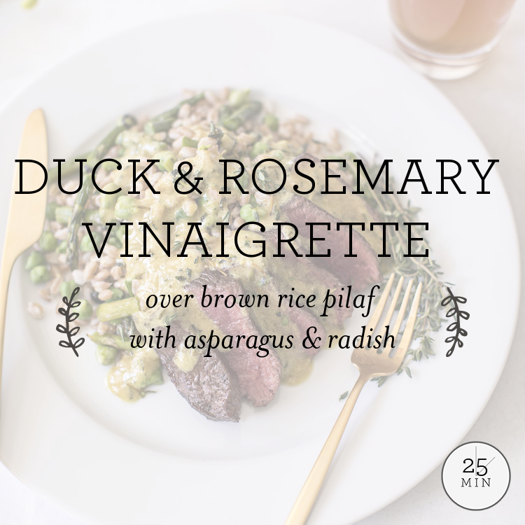 Duck & Rosemary Vinaigrette over brown rice pilaf with asparagus & radish