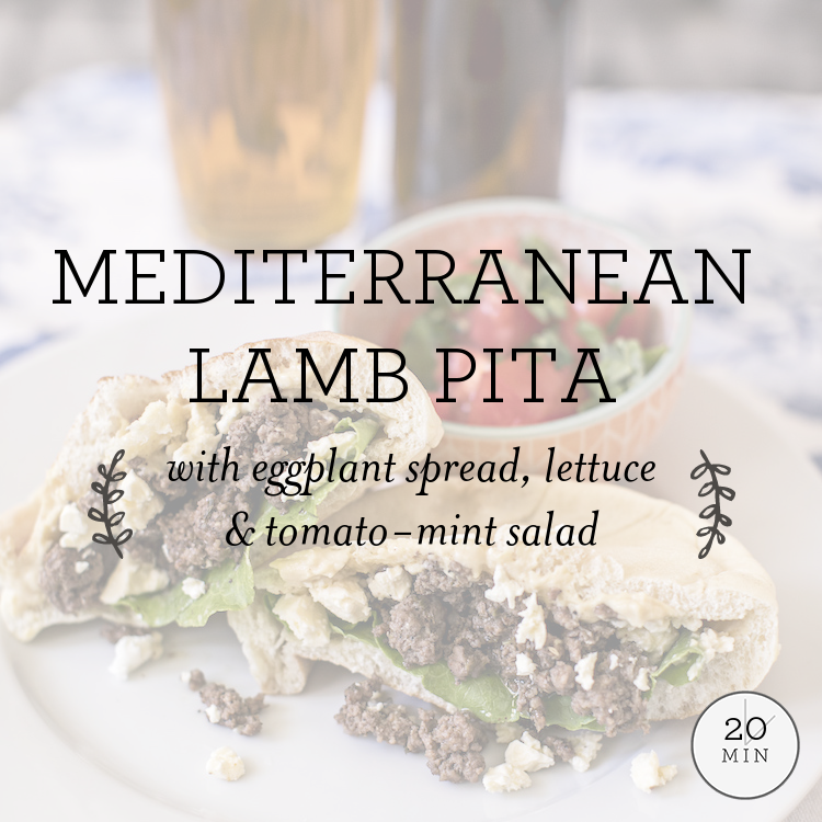Mediterranean Beef Pita with eggplant spread & tomato mint summer salad