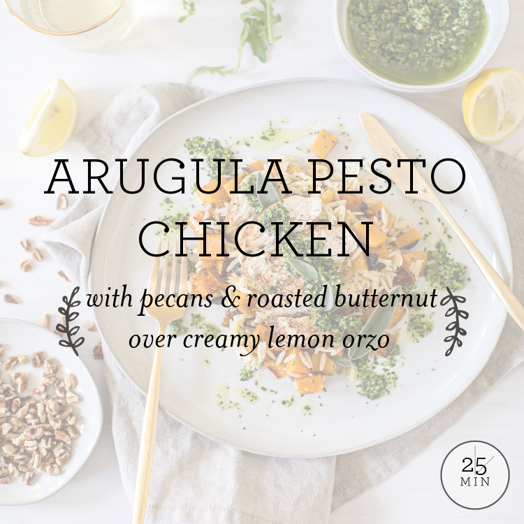 Arugula Pesto Chicken with pecans & roasted butternut over creamy lemon orzo