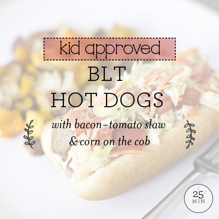 BLT Hot Dogs with bacon-tomato slaw & corn on the cobb
