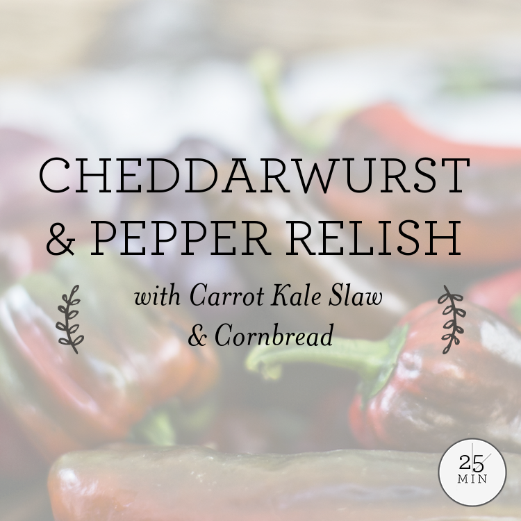 Cheddarwurst & Pepper Relish with Carrot Kale Slaw & Cornbread