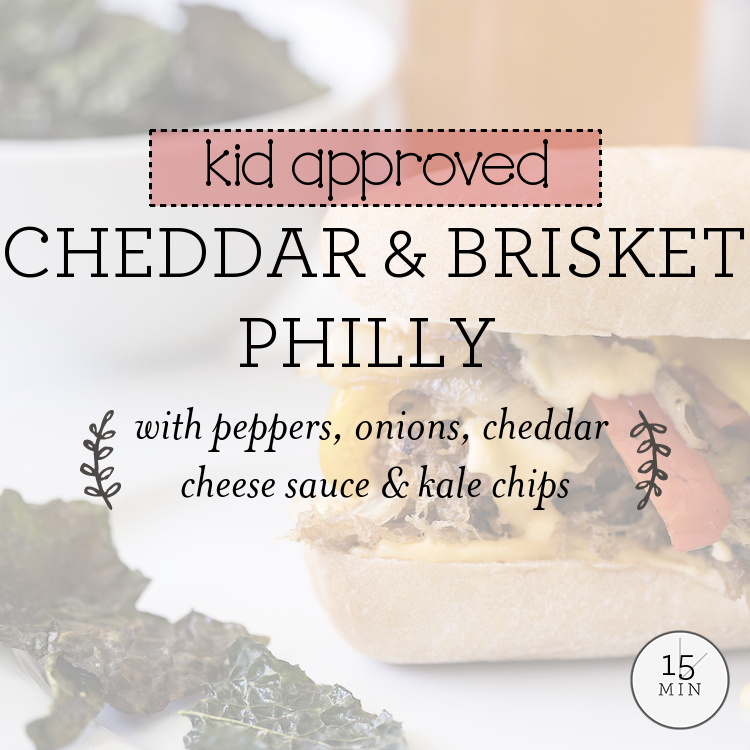 Smoked Brisket Philly with Peppers, Onions, Cheddar Cheese Sauce & Kale Chips