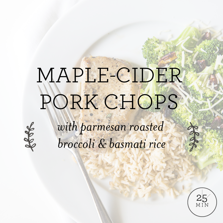Maple-Cider Pork Chops with parmesan roasted broccoli & basmati rice